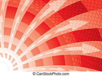 Red twister - Red abstract background inclusive arrows and...