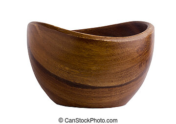 Deep wooden bowl isolated on white background