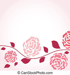 Retro card with vintage rose - Retro card with rose