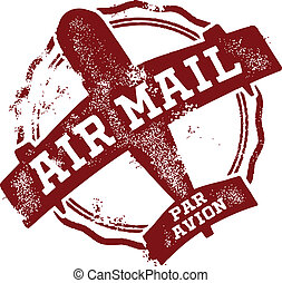 Airmail Postage Mark - Vector airmail rubber stamp postmark.