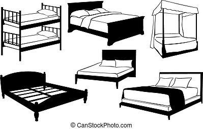 beds - set of different beds isolated on white