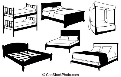beds - set of beds isolated