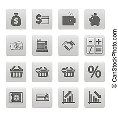Shopping icons on gray squares