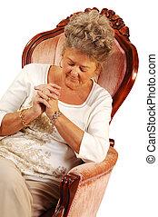 Sênior, mulher, orando