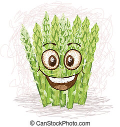happy asparagus vegetable cartoon character smiling.