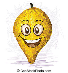 happy canistel fruit cartoon character smiling