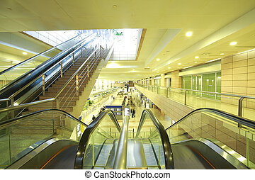 modern architecture steps of moving business escalator and stair