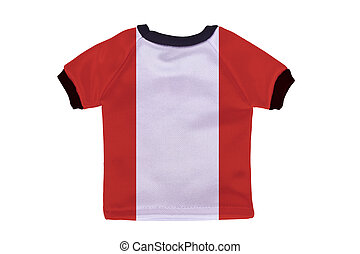 Small shirt with Peru flag isolated on white background