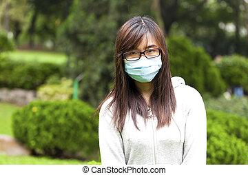 mujer, Llevando, médico, cara, máscara