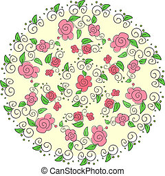 Round floral pattern. Hand drawn illustration