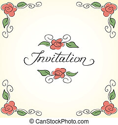 Invitation card with floral pattern
