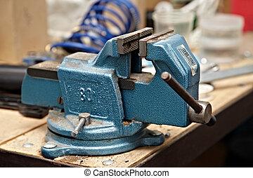 Vise - Old vise on a workshop table
