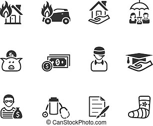 Black And White Icons - Insurance - Insurance icons in black...