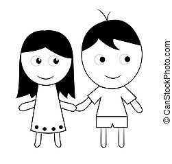 childs drawing of a couple on a white background
