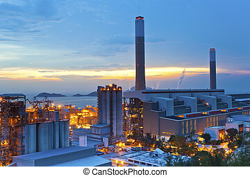 Power station at sunset
