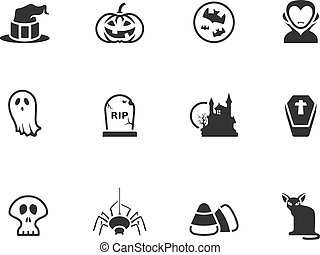 BW Icons - Halloween - Halloween icon series in black and...