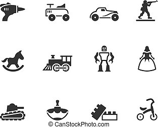 BW Icons Icons - Toys - Vintage toy icons in single color
