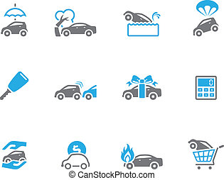 Duo Tone Icons - Auto Insurance - Car insurance icons in duo...