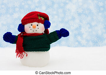 Merry Christmas - Snowman on snow with snowflake background,...