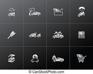 Metallic Icons - Auto Insurance - Car insurance icons in...