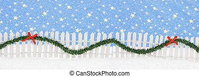 Merry Christmas - White picket fence with green garland and...