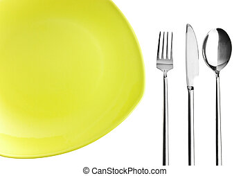 Green plate, fork, knife and spoon on white background