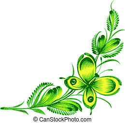 corner ornamental flower and butter - hand drawn, vector,...
