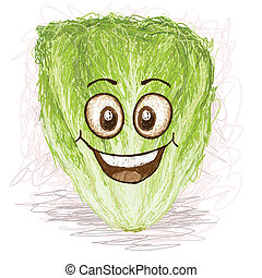 happy lettuce vegetable cartoon character smiling.