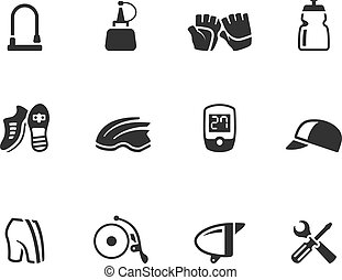 BW Icons - Bicycle Accessories - Bicycle accessories icons...
