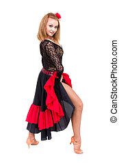 Flamenco dancer woman gypsy with spanish hand fan