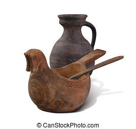 Jug and scoop on white background