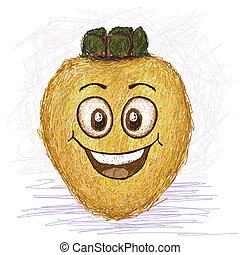 happy local apple fruit cartoon character smiling