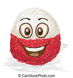 happy lychee fruit cartoon character smiling