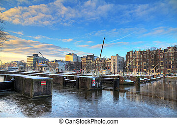 Amstel sluice - Beautiful winter view on the sluice gates in...