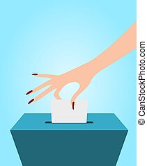 Voting - Illustration of a person placing a piece of paper...