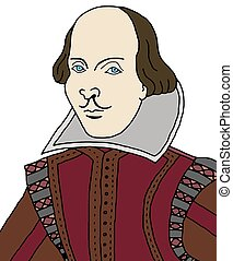 William Shakespeare - Cartoon illustration of William...