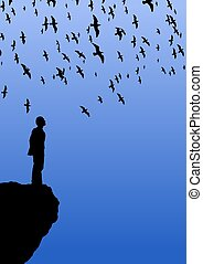 Bird Watching - Illustration of a man standing on a cliff...