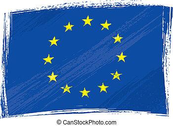 grunge, europeu, união, bandeira