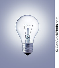 Light bulb on the gray surface