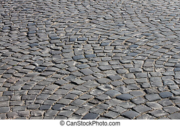 cobble stone road in Uzhgorod, Ukraine