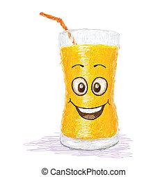 happy orange juice cartoon character smiling.