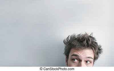 Hair cut - Funny morning look of a young adult men with on a...