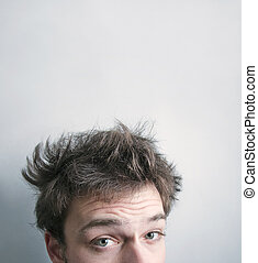 I need a hair cut - Funny morning look of a young adult men...