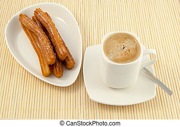 desayuno, tipico, espana, churros, café, leche