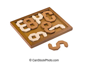 conundrum with numbers - logical wooden puzzles to train...