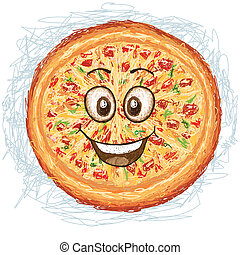 happy pizza cartoon character smiling.