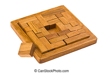 conundrum on white - logical wooden puzzles to train your...