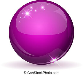 Pink glossy sphere isolated on white.