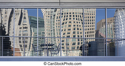 distorted San Francisco cityscape - distorted cityscape of...