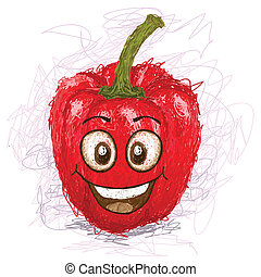 happy red bell pepper cartoon character smiling
